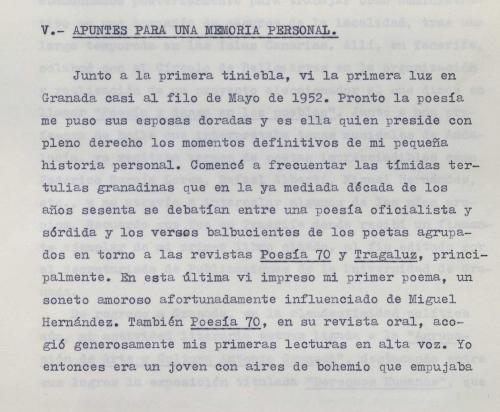 Mecanoscrito Javier Egea. Apuntes para una memoria personal. E-MS-4 (1-13)