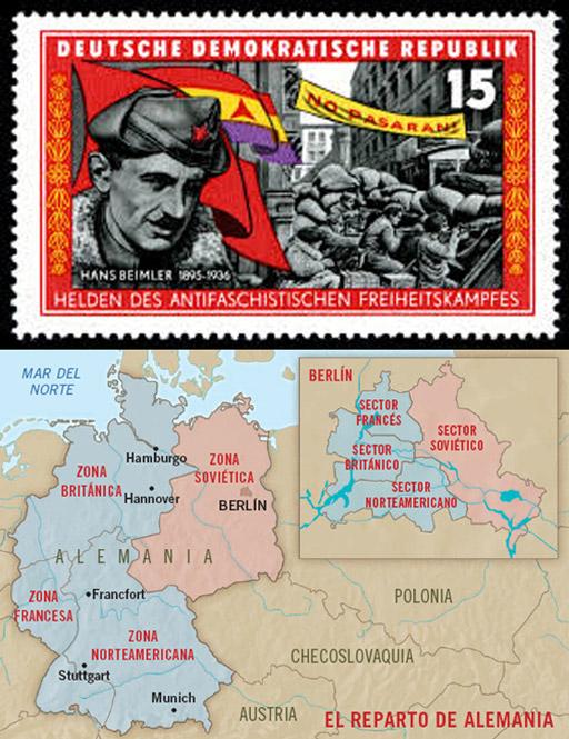 El corazón de Europa también se parte. Austria, caso aparte, se resolvió en 1955, cuando se firmó el Tratado de Viena – Pero la partición de Alemania en dos estados, la RFA y la fundación de la RDA en 1949 establece la cercanía de lo más ajeno, y la lejanía de lo más cercano en ambos bloques.