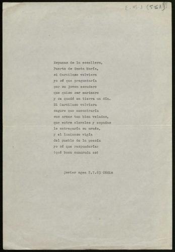 Mecanoscrito de Javier Egea, poema publicado en 1917 versos (VOSA 1987) E-MS-1 (5-61)