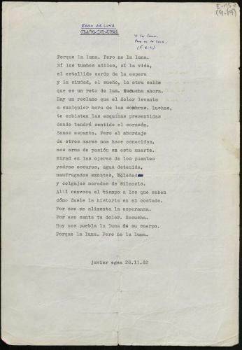 Mecanoscrito Javier egea. Raro de luna (1982) E-MS-2 (4-19)