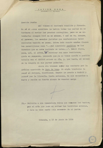 Carta de Javier Egea a Editorial Hiperión (junio, 1990). E-MS-2 (4-1)