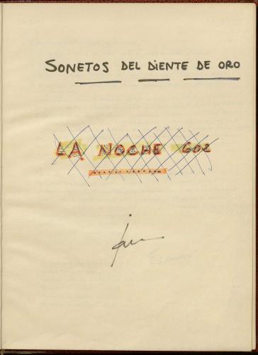Portada manuscrito cuaderno Sonetos diente de oro. E-MS-1 (2-24)