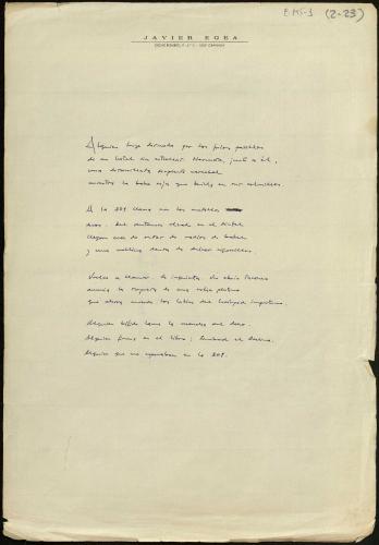 Manuscrito javier egea soneto del diente de oro. E-MS-1 (2-23)